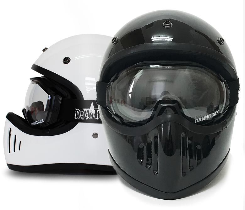 フルェイスヘルメットゴーグルセット ダムトラックス メンスヘルメット オーバーグラスゴーグル OVER GLASS GOGGLES バイクヘルメット ダムトラックスブラスター DAMMTRAX BLASTER ゴーグル付き UVカット シンプル かっこいい ハーレー 立花
