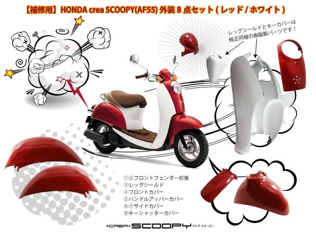 【補修用】【HONDA】 【ホンダ】【SCOOPY】【スクーピー】【AF55】【外装】【バイクパーツ】【バイク外装】【レッグシールド】【フロントフェンダー】