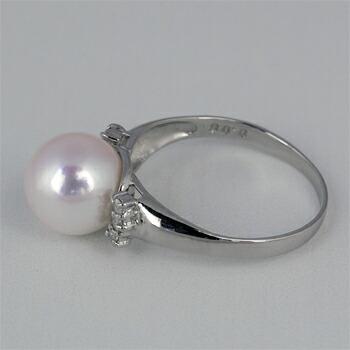 9ミリアコヤ真珠リングリング【PT900】クリックで写真が拡大します