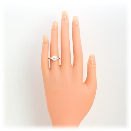 オーロラ花球真珠 リング 9ミリ珠 【Pt900】