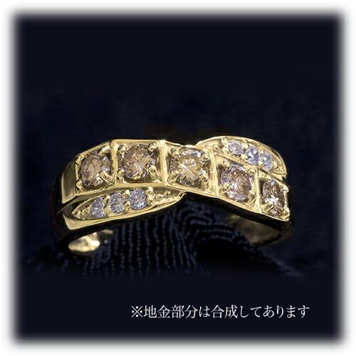合計0.6ct ダイヤモンドリング【K18YG】クリックで写真が拡大します