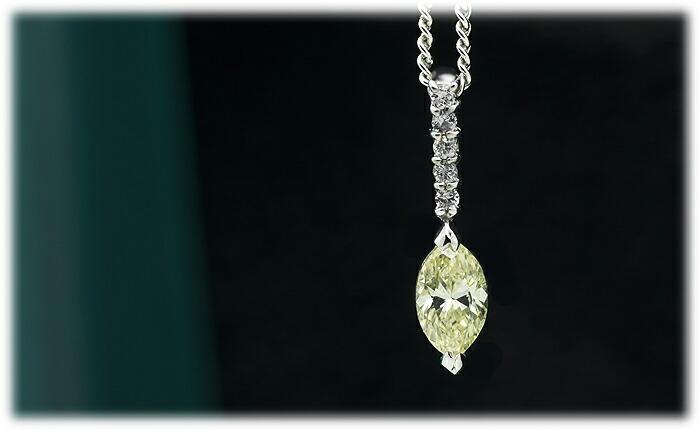 ライトイエローダイヤモンドペンダント【K18Wg】