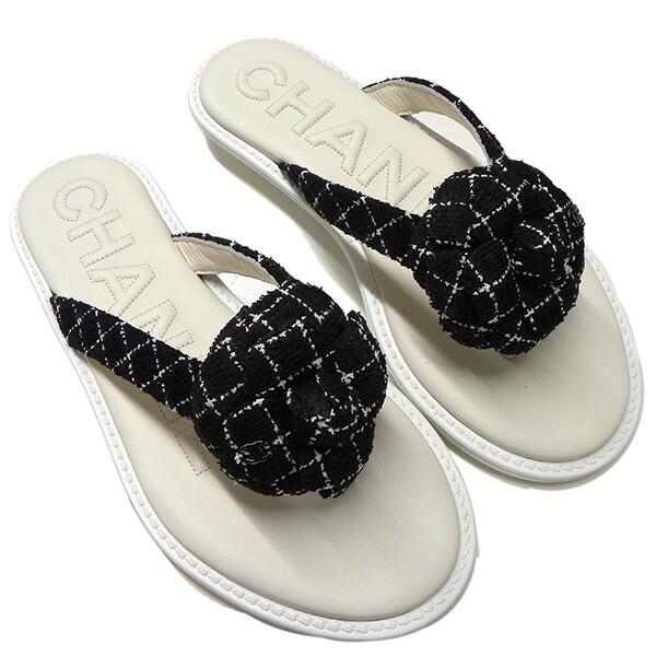 0439699a735c シャネル カメリア ビーチサンダル 35ハーフ ブラックxホワイト ブランド ロレックス ROLEX【CHANEL·35  1/2·ツイード·ココマーク·靴·白黒·トング·ブランド】 ...