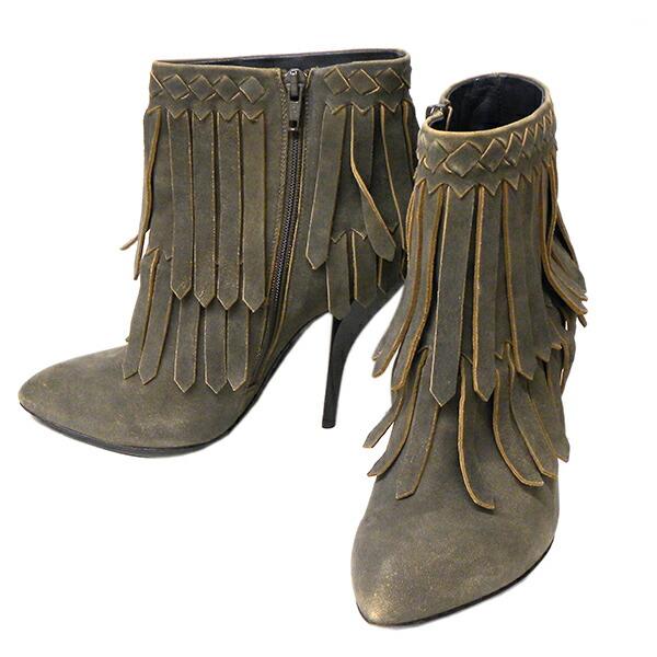 【ABランク】 ボッテガ・ヴェネタ フリンジ ショートブーツ サイズ37 グレー系【BOTTEGA VENETA・レディース・靴・ブランド】