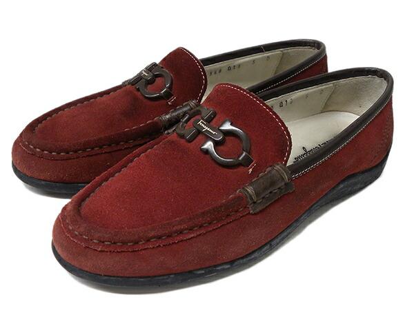 【Bランク】 サルバトーレ・フェラガモ ガンチーニ ローファー スエード 5D 【 Salvatore Ferragamo・モカシン・革・靴・シューズ・ブランド】