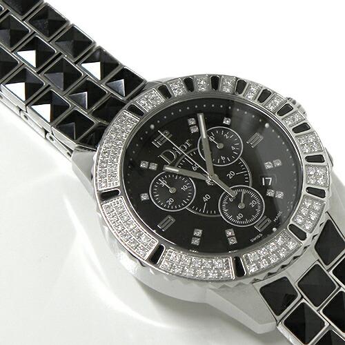 【Aランク】 クリスチャン・ディオール クリスタル クロノグラフ 38mm CD11431C-V ダイヤモンド【CHRISTIAN DIOR・黒文字盤・腕時計・クォーツ】