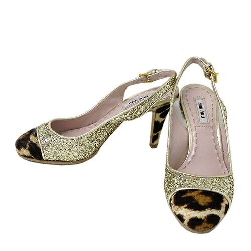 【未使用品】 ミュウミュウ パンプス ゴールドグリッター 34ハーフ【miumiu・レディース・34 1/2・靴・アニマル・ラメ・バックストラップ・女性・ブランド】