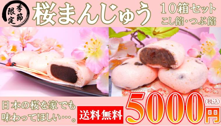 季節限定桜まんじゅう10箱セット!なんと半額!送料無料!日本の桜を家でも味わってほしい…。