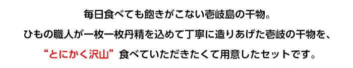 毎日食べても飽きがこない壱岐島の干物。ひもの職人が一枚一枚丹精を込めて、丁寧に造りあげた壱岐の干物を、とにかく沢山食べていただきたくて用意したセットです。