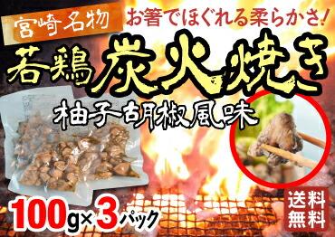 宮崎名物 お箸でほぐれる柔らかさ 若鳥 炭火焼き 柚子胡椒風味 100g×3パック 送料無料