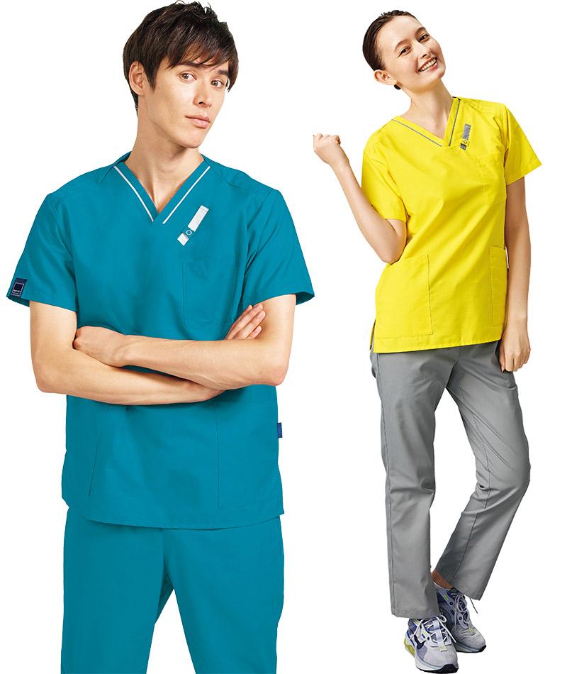 医療PHSポケット付きスクラブ白衣7042SCフォーク