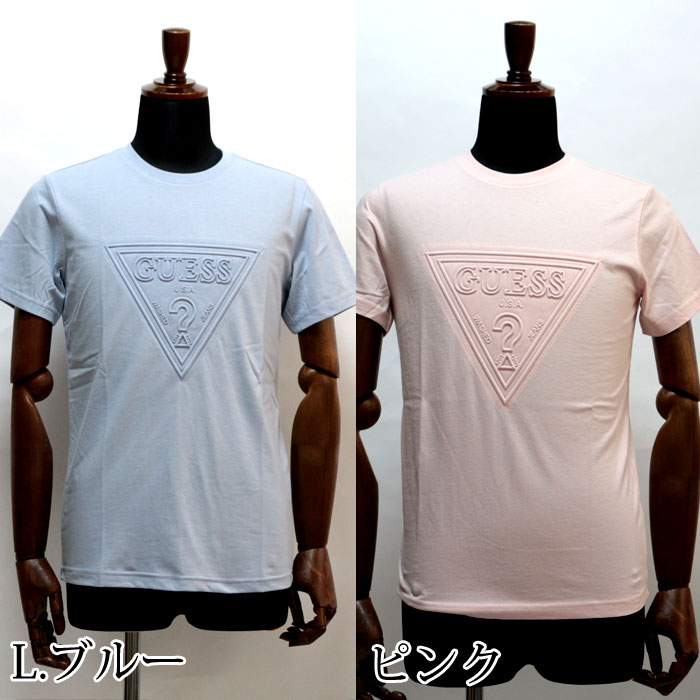 133616b52d52d0 As for the color, it is developed black, white, pink, a blue plural number  by the fresh design which arranged a triangle logo of men's print T-shirt  GUESS ...