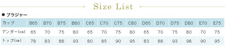 ブライダルインナーサイズ表