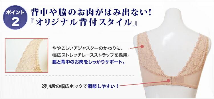 「シルックラフール」多機能補正下着ハードノンワイヤーブラジャーのポイント2:背中や脇のお肉がはみ出ない!「オリジナル背付スタイル」