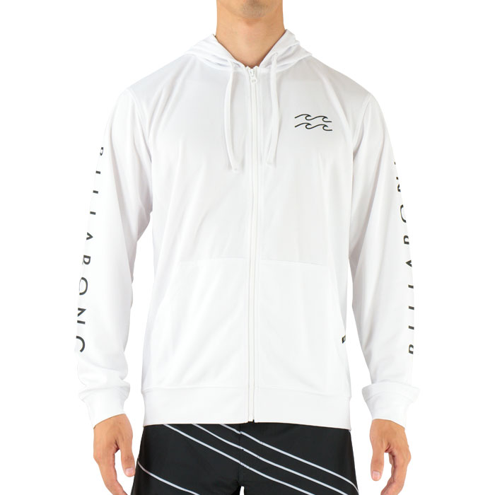 SALE BILLABONG AH011867 WHT ビラボン 長袖 ジップフード ラッシュガード 袖ロゴ バックプリント