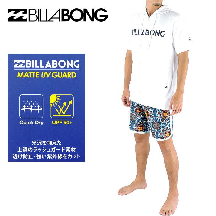 ビラボン メンズ 半袖ラッシュガード ジップアップ フード付き ロゴプリント BILLABONG AH011857