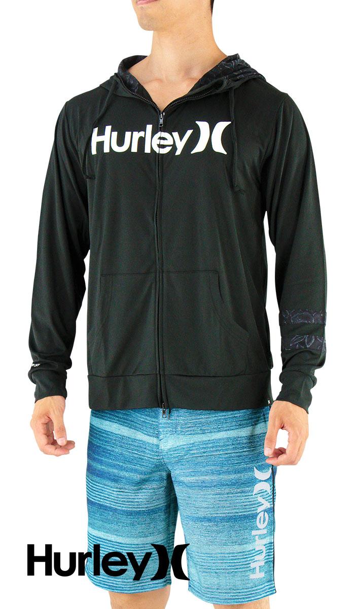 セール HURLEY ハーレー 長袖ラッシュガード ジップアップ フード付き MKHZLY40 00A 黒