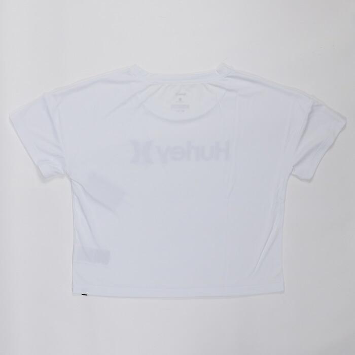 ハーレー ラッシュTシャツ クロップト丈 ロゴ 半袖 レディース 紫外線防止 速乾性 水着 ブラック