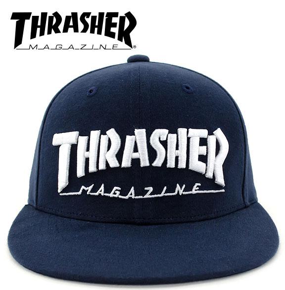 スラッシャー CAP 帽子 スナップバック THRASHER ロゴ キャップ 刺繍 シンプル 通販 LOGO フラットバイザー