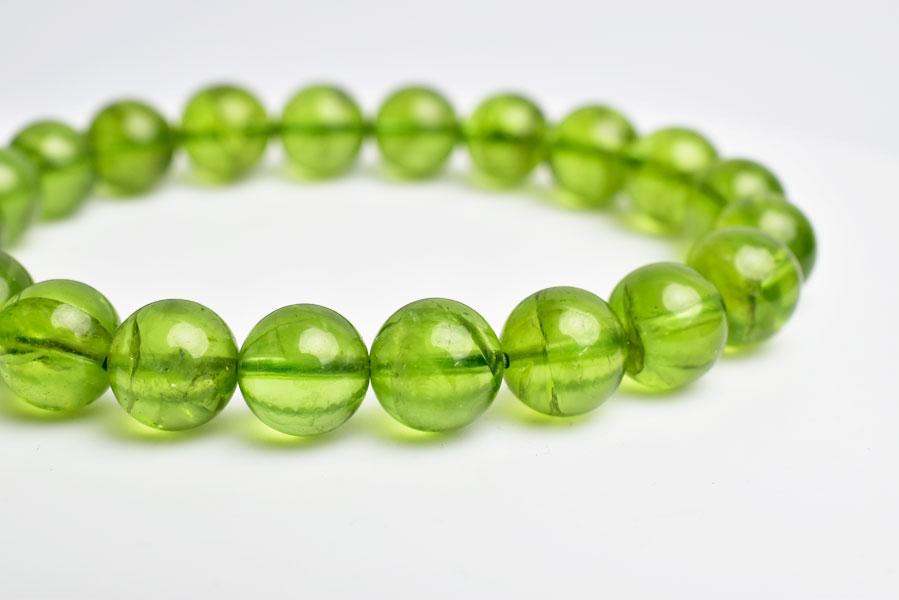 ペリドット 橄欖石 かんらん石 8月誕生石 数珠 ブレスレット 天然石 パワーストーン