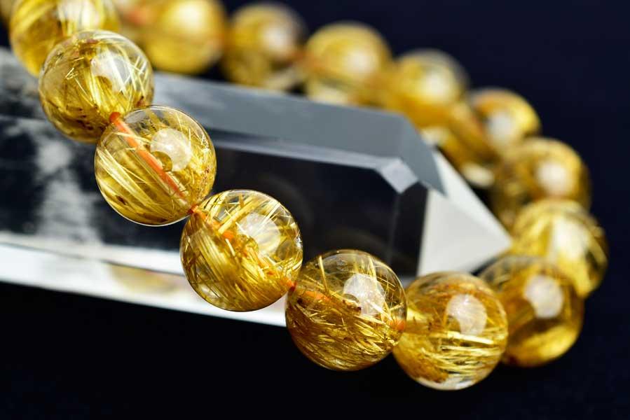 天然石 パワーストーン ブレスレット ゴールドルチル ルチルクォーツ 金針水晶 大玉