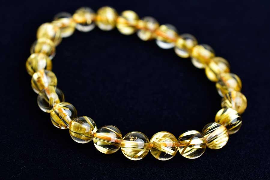 ゴールドルチル ルチルクォーツ 金針水晶 天然石 パワーストーン ブレスレット