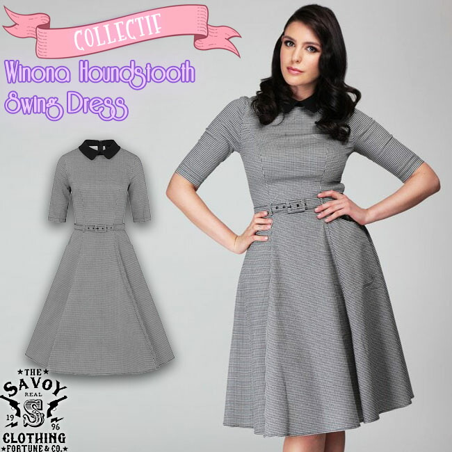 COLLECTIF Winona Houndstooth Swing Dress