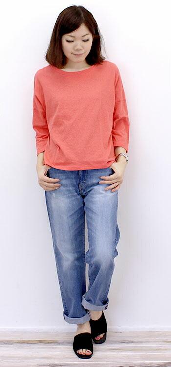 ナル NARU リサイクルコットン天竺 7分袖ワイドカットソー(615001)綿 ムラ糸 Tシャツ