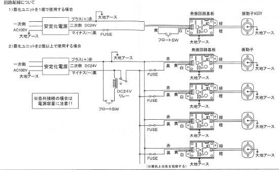 回路配線図。並列接続の場合は電源容量に注意して下さい。