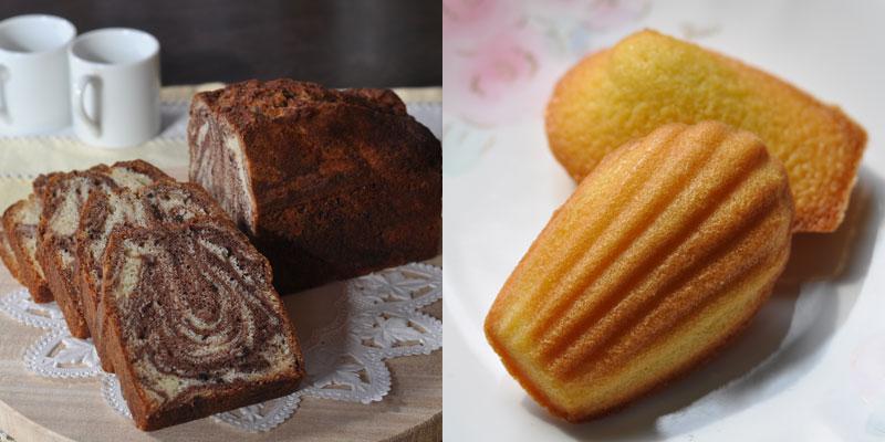 うさぎ堂の贈り物セットには、マドレーヌが5つとチョコレートマーブルパウンドケーキが1本入っています。
