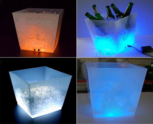 光るワインクーラー スクエア型 充電式 LED アイスペール シャンパンクーラー ボトル お洒落