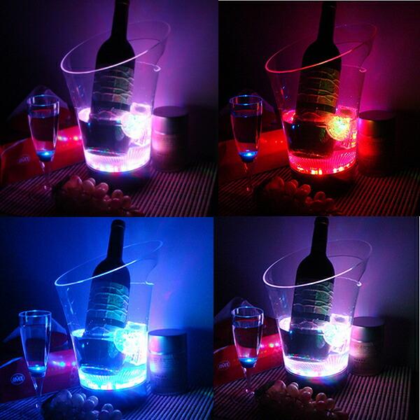 光るワインクーラー LED アイスペール お洒落 シンプル ボトルクーラー 充電式