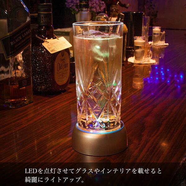 LEDを点灯させて、上に透明なガラスオブジェなど置くと綺麗にライトアップ。