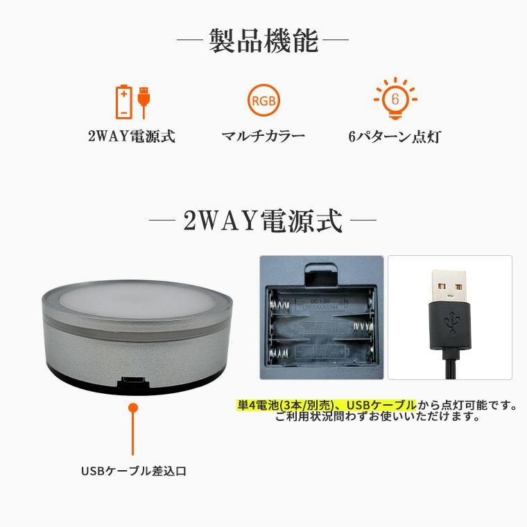 ライトステージ、丸形、4灯、電池式