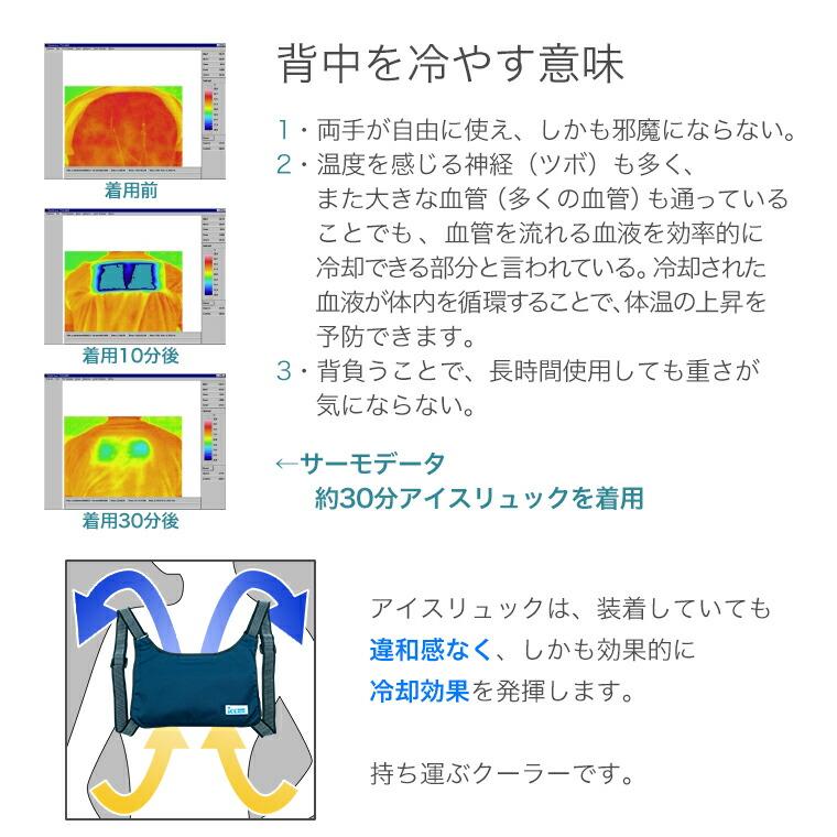 背中を冷やす意味。装着しても違和感なく、しかも効果的に冷却効果を発揮します。持ち運ぶクーラーです。