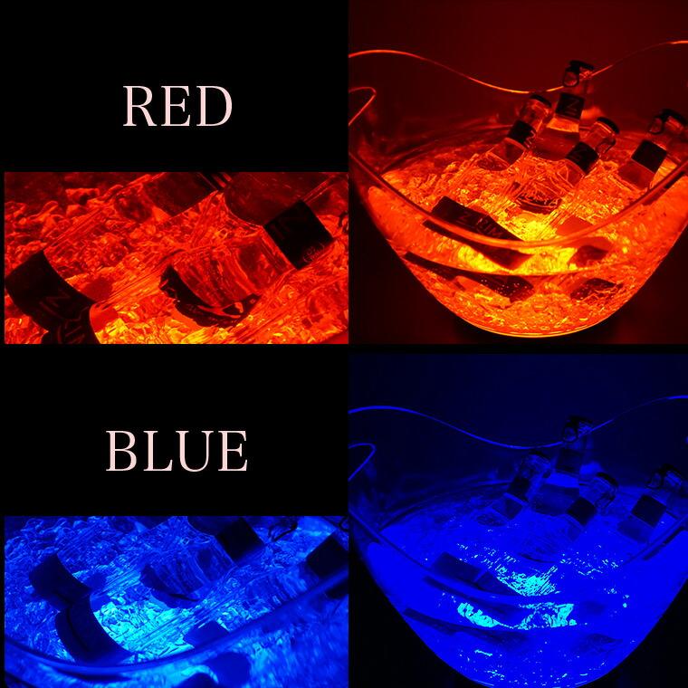 光る ワインクーラー 8L 楕円形 幅35cm×奥行25.5cm×高さ28.5cm レッド/ブルー/イエロー/ホワイト 充電式 LED おしゃれ シャンパンクーラー ボトルクーラー クリスマス ハロウィン BAR スナック イベント 結婚式 パーティ レストラン