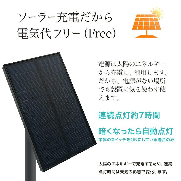 もう一つのポイントはソーラーパネル。太陽のエネルギーで点灯するから電気代はかかりません。連続点灯時間は最大7時間。暗くなったら自動で点灯します。