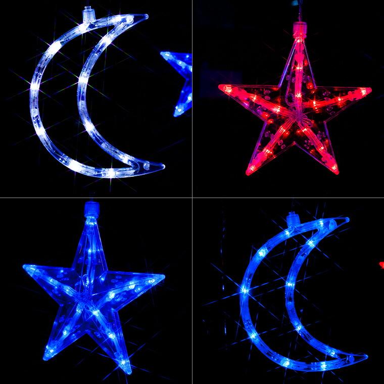月と星は赤色、青色、白色のLED