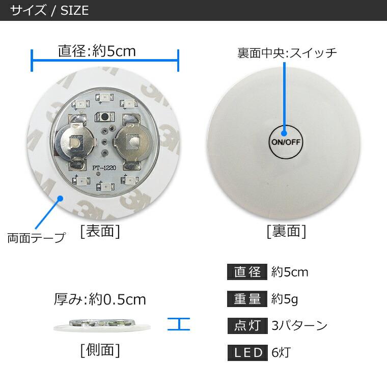 光る ボトルステッカー 5cm レインボー RGB LED6灯 仕様