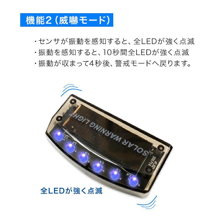 車 防犯ライト 車用 流れる LED フラッシュ 点灯 ブルー 威嚇モード