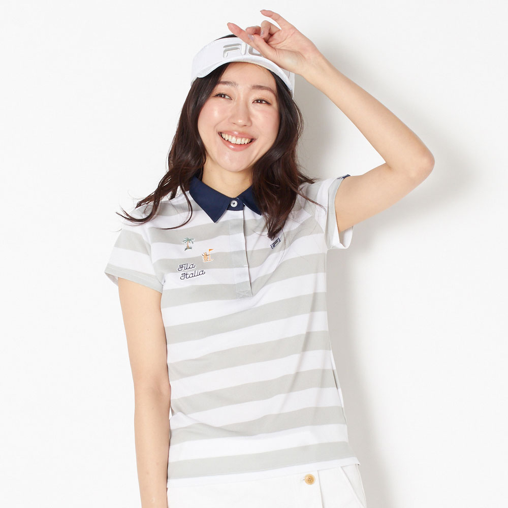 FILA(フィラ) 半袖シャツ レディース 全2色 M/L FILA 女性 接触冷感 UVカット 吸汗速乾 ゴルフウェア かわいい オシャレ 大きいサイズ レジャー コース 春 夏