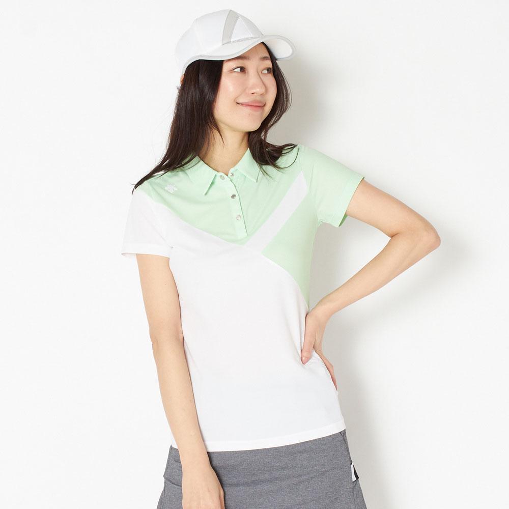 デサントゴルフ 切り替えシャツ レディース 全2色 M/L DESCENTE GOLF 女性 吸汗 速乾 UVケア(UPF15) ストレッチ ゴルフウェア かわいい オシャレ 大きいサイズ レジャー コース 春 夏