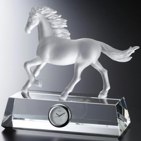 GLASS WORKS NARUMI グラスワークスナルミ (鳴海製陶)馬フィギュアクロック(フロスト)