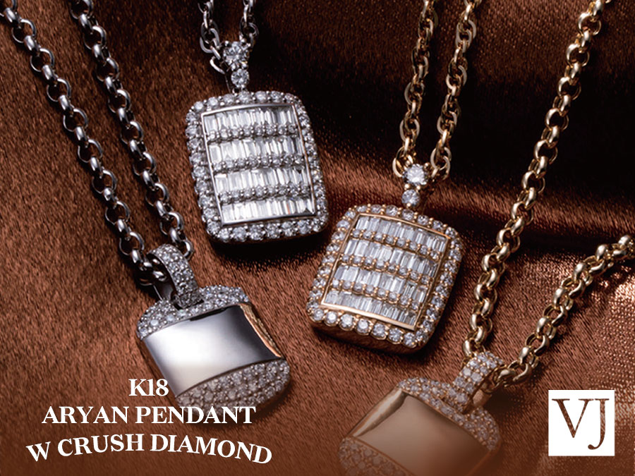 【VJ】K18 W CRUSH DIAMOND ARYAN PENDANT