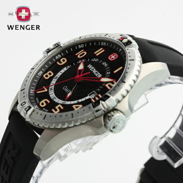 E Mix Wenger Wenger Watch Squadron Gmt スクアドロンジーエムティーブラック