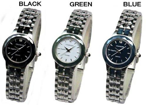 CHANDINE天然ダイヤ&サファイヤガラス&硬質セラミック使用★レディース腕時計全3色