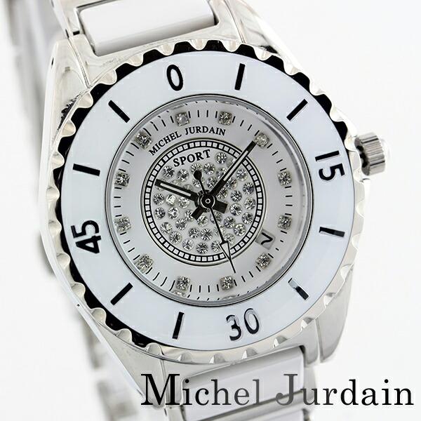 ミッシェルジョルダンスポーツ腕時計天然ダイヤモンドレディースセラミックウォッチMJ-7100-L-1ホワイト