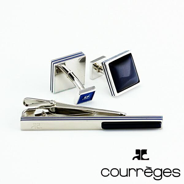 ANDRECOURREGESアンドレ・クレージュメンズネクタイピンタイバーカフスセット藍色×銀ACT5205-ACC12005