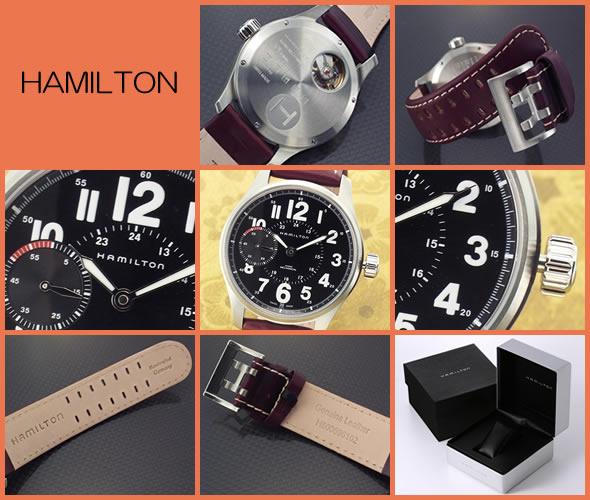 ハミルトン 腕時計 Khaki Mecha Officer メンズ メカニカル レザーストラップ ウオッチ H69619533