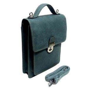 國鞄(コクホー)牛革ジーンズ調 手染めタイプ B6サイズ 縦型ショルダータイプ (かぶせ式)グレー No2734GL